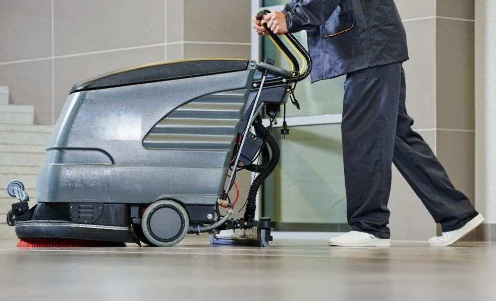 An industrial floor cleaning machine.